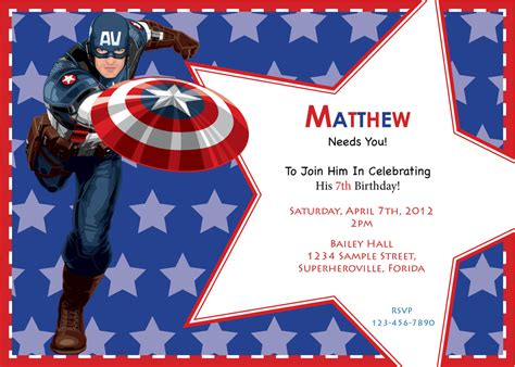 Captain America Birthday Card Template by Captain America Birthday Invitation Custom Digital Print