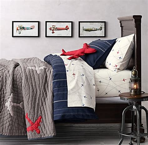 airplane decor boys zimmer vintage baseball stripe airplane route bedding