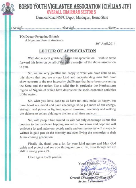 Support Appreciation Letter Global Fundraiser As Civilians Take War To Boko Haram Hideouts Support Every