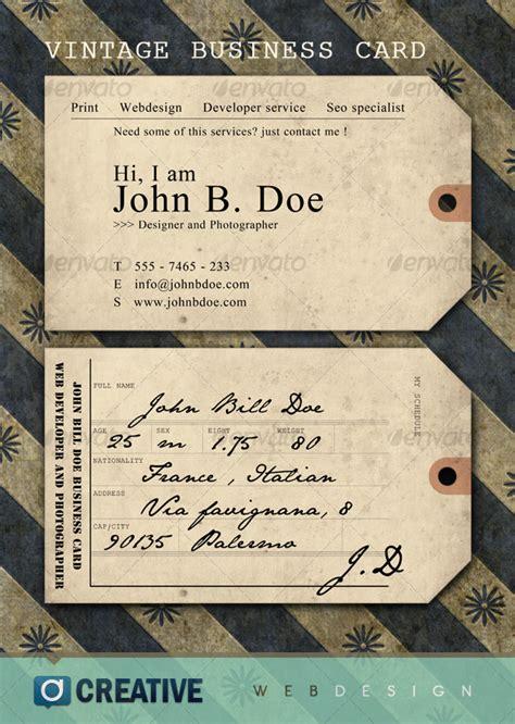vintage ticket business card  elegant creative