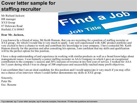 Staffing Agency Recruiter Cover Letter by Staffing Recruiter Cover Letter
