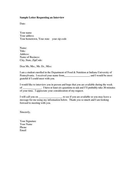 interview request letter sample format   letter     request  interview
