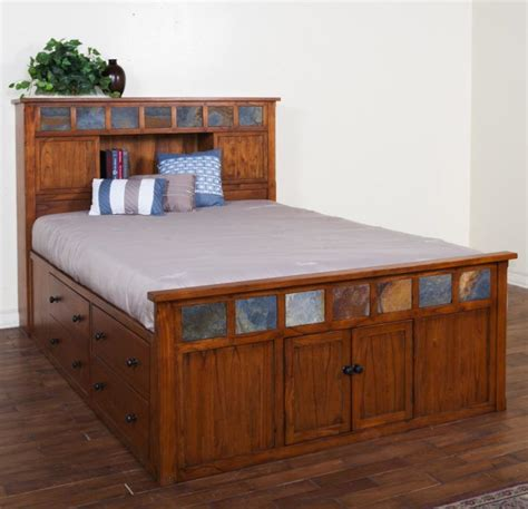 rustic style captain bed queen size  storage unit