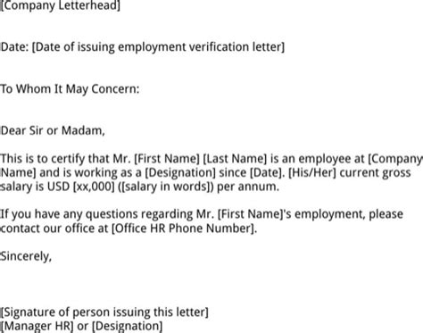 Employment Verification Letter For Us Visa Sting employment verification letter template for free formtemplate