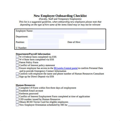 new hire business template new hire checklist sle 13 documents in pdf