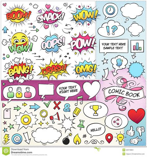 comic book layout vector comic book elements vector pack stock vector image 52673984