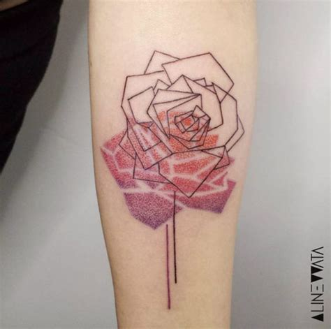 shadow rose tattoo geometric with dotted shadow forearm