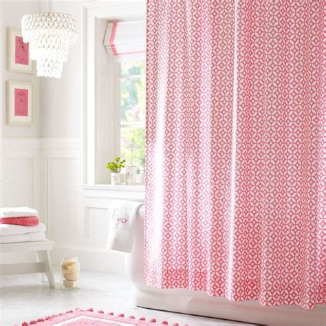 Pink Shower Curtains Petal Dot Shower Curtain Bright Pink Contemporary Shower Curtains By Pbteen