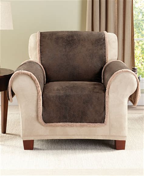 faux leather slipcovers sure fit vintage faux leather with sherpa pet chair cover