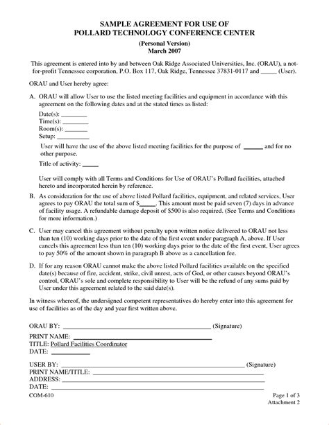 Letter Of Agreement For Use Of Facility 5 Sle Contract Agreementreport Template Document Report Template