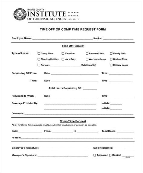 25 Time Off Request Forms In Pdf Sle Templates Time Request Form Template Pdf