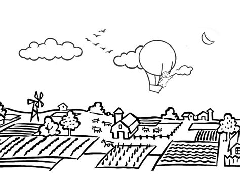 coloring pages for village landscape coloring pages