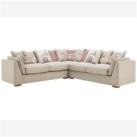 California 4 Seater Pillow Back Corner Sofa Civic Stone