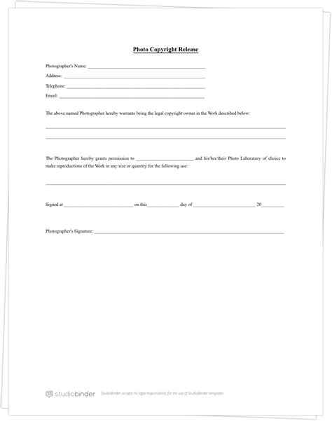 photo release form template photography