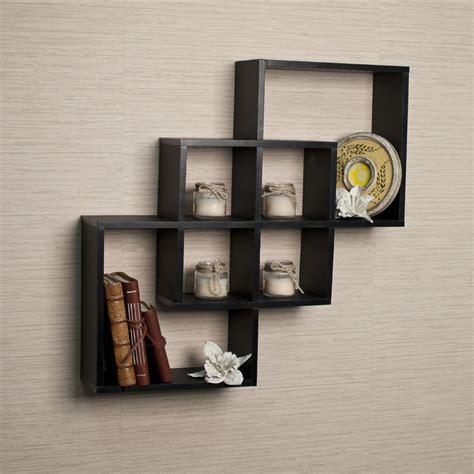 Black Decorative Wall Shelves Intersecting Squares Decorative Black Wall Shelf
