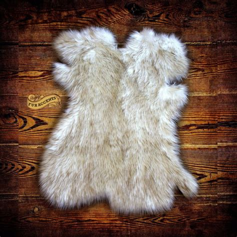 Pelt Rug by Arctic Fox Throw Rug Plush Faux Fur White W Brown