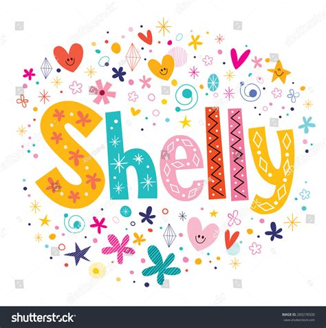 decorative design types shelly girls name decorative lettering type stock vector