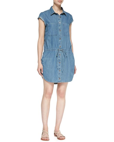 Wst 14632 Blue Collar Dress mila drop waist denim shirt dress in blue lyst