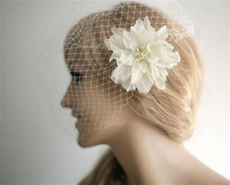 Wedding Hair Clip Veil by Birdcage Veil With Flower Hair Clip Wedding Veil Flower