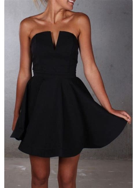 Foreni Plain Flare Mini Dress dress black dress vneck dress strapless fancy black