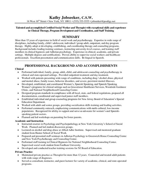 social work resume exles social work resume with license social work resume work