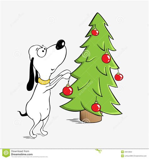 funny dog and christmas tree stock vector image 20512822
