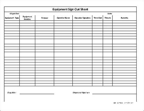 employee sign in sign out sheet template best photos of employee equipment check out form