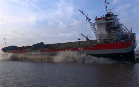 global boat shipping leer watch mv reggeborg launched at germany s fersus smit