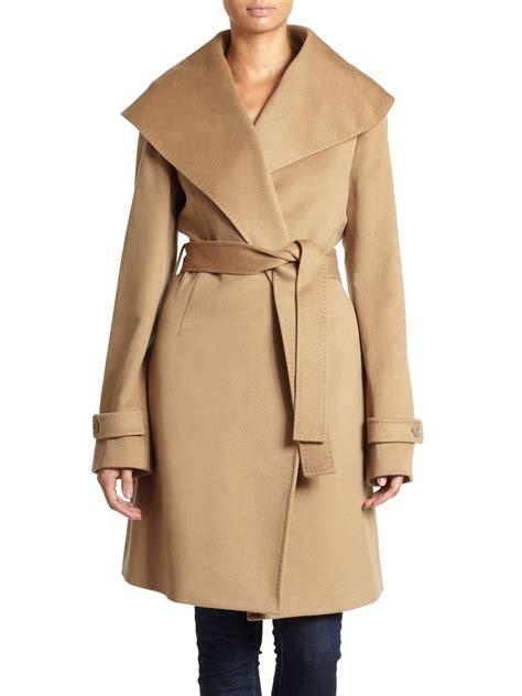 Shawl Collar Coat saks fifth avenue black wool tiewaist shawl collar coat in
