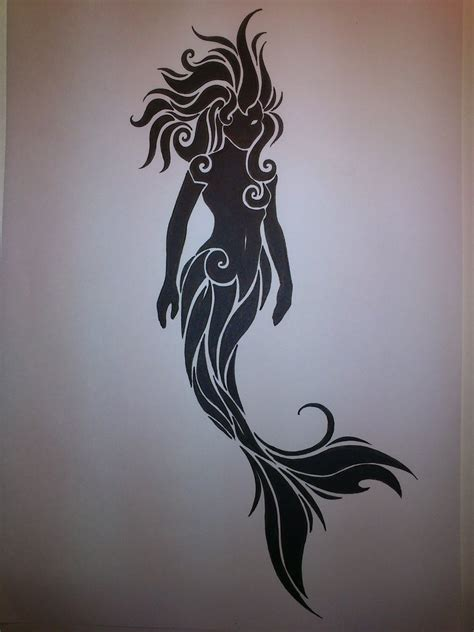 mermaid tribal tattoo 1000 images about mermaid line drawings tattoos on
