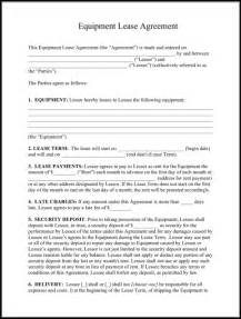 rental leases templates sle equipment lease templates for excel pdf and word