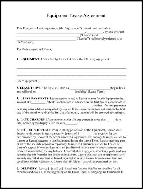 equipment lease purchase agreement template sle equipment lease templates for free