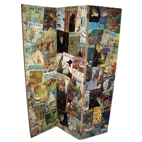 Modern Decoupage - decoupage folding screen of new yorker magazine covers at