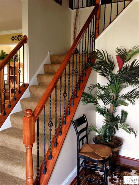 43 carpinter 237 a ebanister iron stair installation replaced wood re stained railing