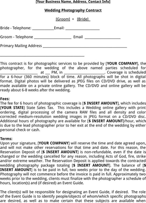 download photography contract template for free formtemplate