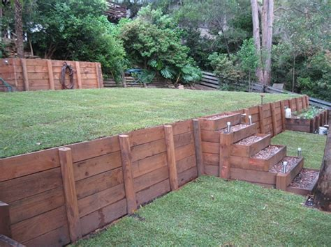 curved wood retaining walls tranquil earth building gardens with railway sleepers back