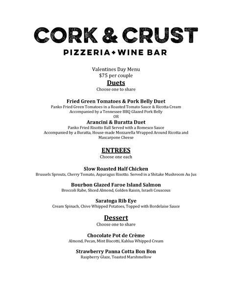 valentines dinner cork cork crust pizzeria valentine s day menu