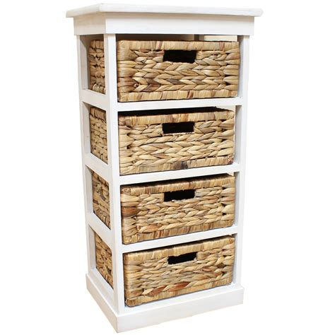 white seagrass basket drawer chest storage cabinet unit