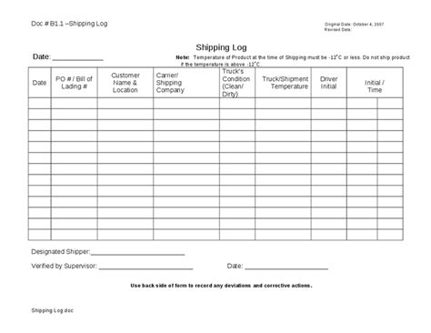 shipping and delivery policy template receiving log template pictures to pin on