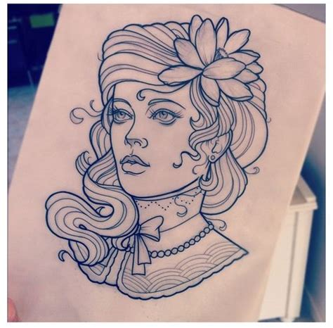 lady and the tr tattoo neo traditional drawing www imgkid the