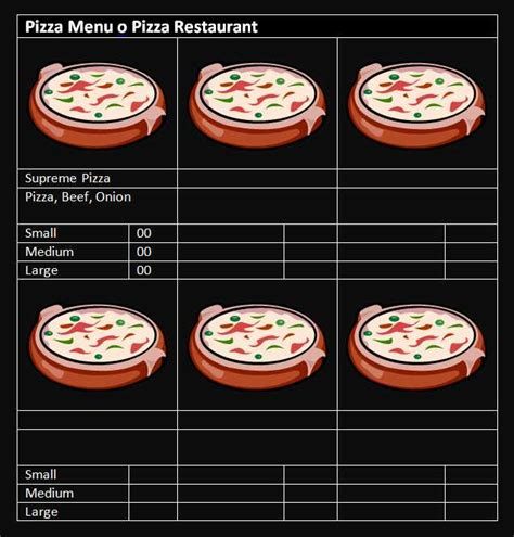 pizza menu template word 15 free restaurant and cafe menu templates for word