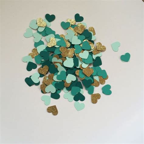 ruby wedding inspiration mint green teal and gold wedding confetti hearts gold glitter dark teal turquoise and