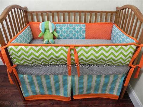 green baby bedding custom baby bedding set reagan lime green chevron with aqua and orange