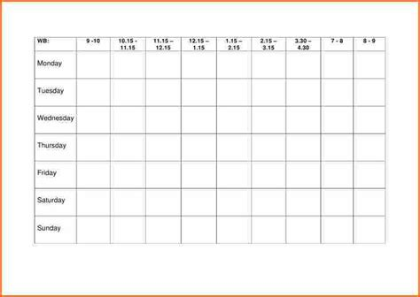 timetable outline template blank revision timetable template play on info