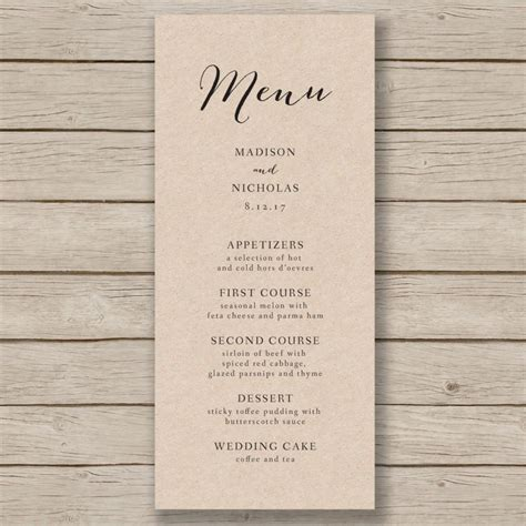 wedding menu template word wedding menu template rustic wedding menu printable