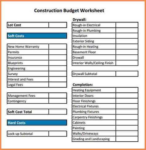 10 construction cost spreadsheet template excel