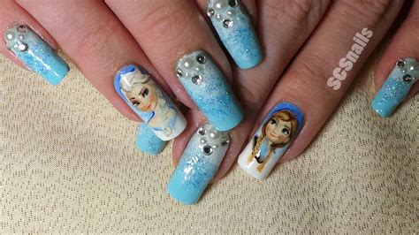 frozen nail art tutorial video frozen inspired nail art by sugarcharmshop on deviantart