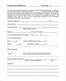 Contract Bid Template by Contractor Template 7 Free Word Document