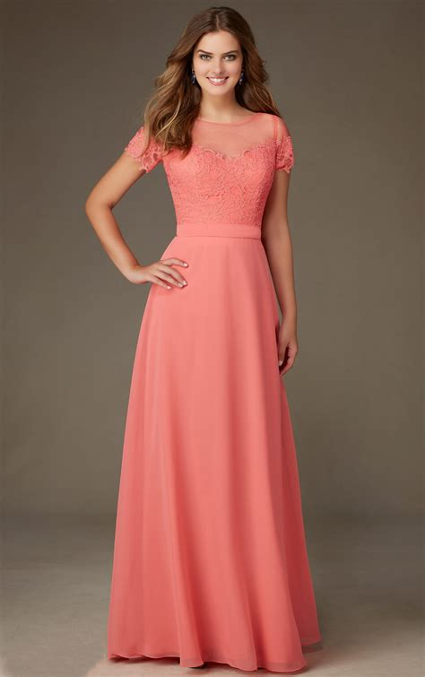 Coral Bridesmaid Dress by Coral Lace Bodice Sleeved A Line Chiffon
