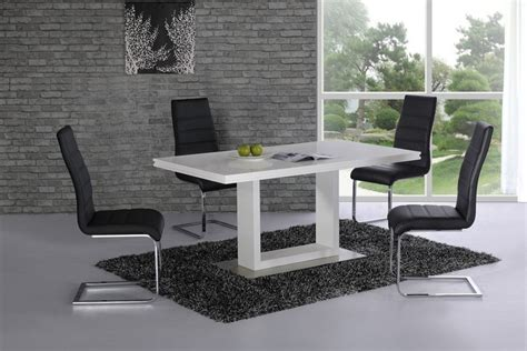 White High Gloss Dining Table And 4 Chairs High Gloss Dining Table And 4 Chairs White With Black Homegenies